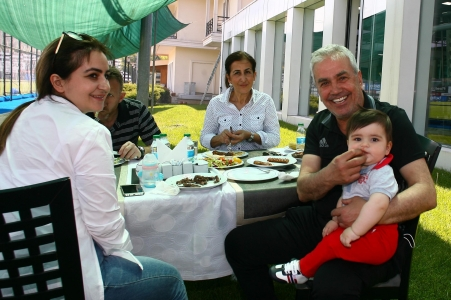 Eagles and their families at barbecue party